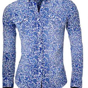 Camisa D&R azul Slim Fit con patrón de flores