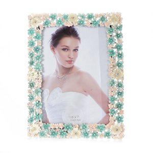 Moderno marco de fotos damara con flores de metal de adorno