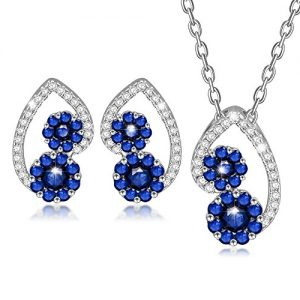 Colgante y pendientes azules de piedras circonitas