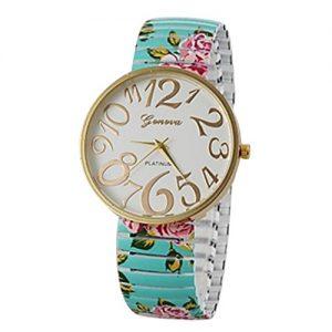 Reloj de cuarzo banda azul y rosas