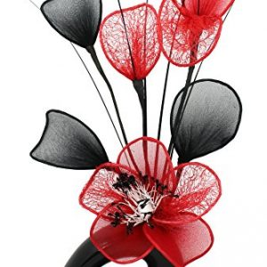 Jarrón Red Flower negro