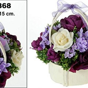 Centro de flores en colores violeta