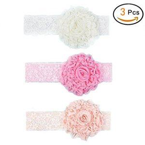3 cintas de bebe con encaje de flores