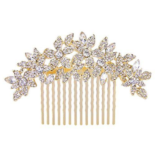 Peineta con flores en cristales austriacos para bodas