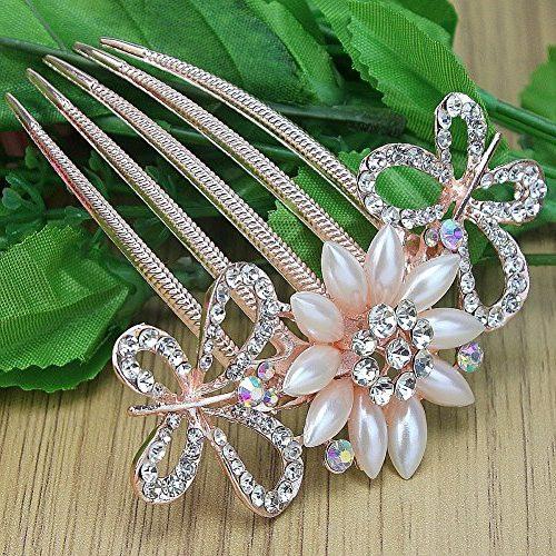 Peineta flor de la perla y mariposas