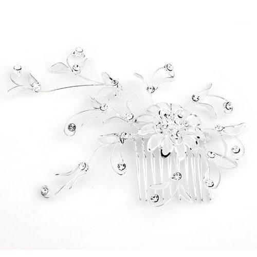Peineta en plata circonita para novia