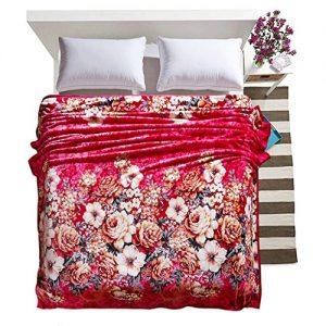 Manta de terciopelo franela con diseño de flores