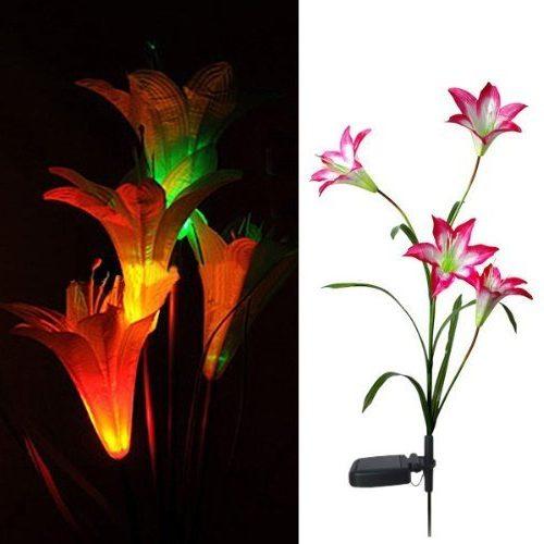 Lámpara de 4 lirios LED para el césped o el jardín