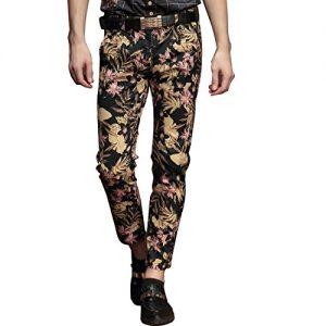 Pantalón de fiesta con hojas y flores para hombre