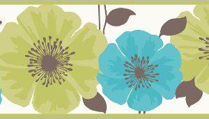 Cenefa flor verde y azul