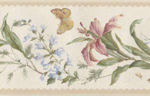 Cenefa mariposas y flores de color beige
