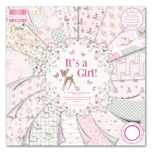 48 hojas de Papel rosa con florecitas It's a girl para manualidades