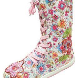 Botas florales de cordones para niña