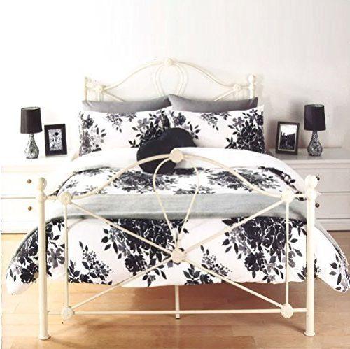 Fundas de edredón y almohada Florence flores y hojas de color blanco y negro