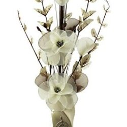 Florero con flores artificiales, color beige