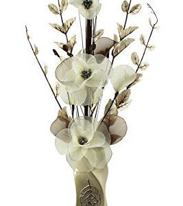 Florero con flores artificiales, color beige