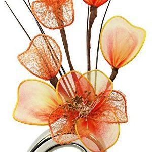 Mini jarrón con flores artificiales naranjas 32 cm