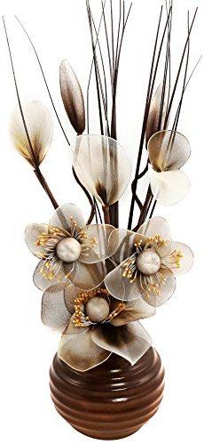 Jarrón con flores de nailón de color marrón y beige 32 cm