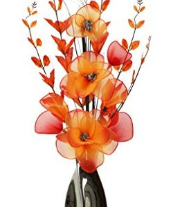 Florero cromo 80 cm, flores artificiales naranja