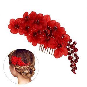 Peineta flores rojas
