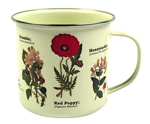 Taza de lata esmaltada con diseño de flores