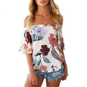 Preciosa blusa de hombros al descubierto y con diseño de flores