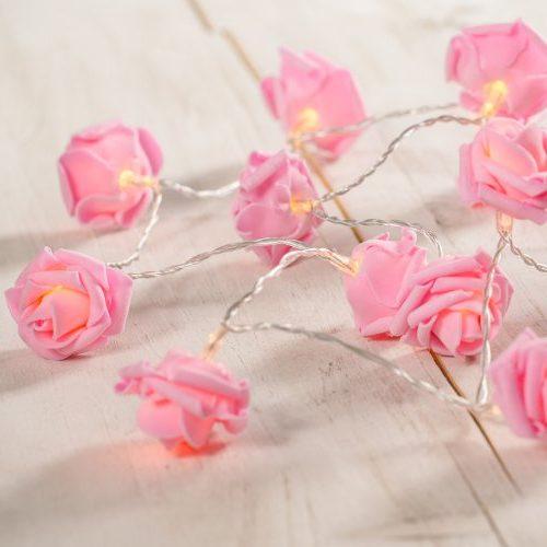 Guirnalda de 20 luces LED rosas