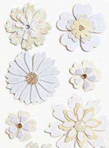 Pegatinas en 3D de flores blancas