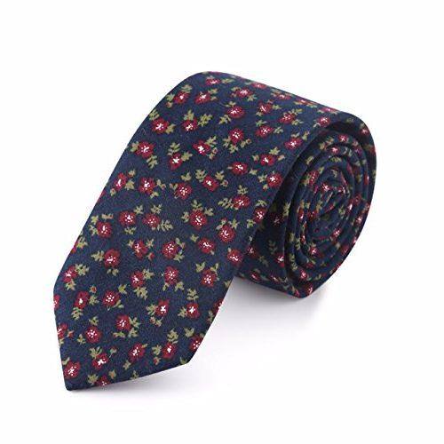 Corbata HXCMAN azul marino y florecillas rojas