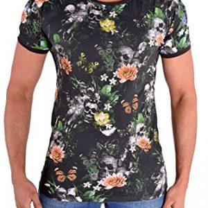 Camiseta para hombre de flores y calaveras
