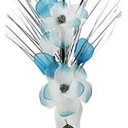 Jarrón con flores artificiales colores blanco azul y plateado