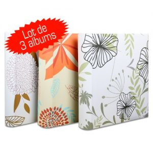Pack de 3 albumes de fotos con diseño de flores
