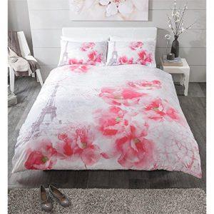 Juego de cama funda Torre Eiffel con flores rosas