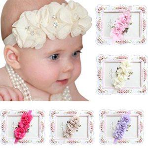 Banda diadema elástica con flores para bebé