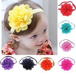 8 unidades multicolor de banda para bebé con flor