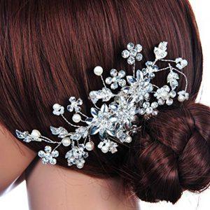Peineta de flores con bolas y diamantes de imitación
