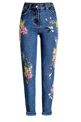 Pantalones vaqueros con flores bordadas