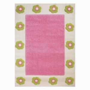 Alfombra hipoalergénica con bordado en relieve (tamaño grande, 134 x 180 cm), diseño de flores, color rosa