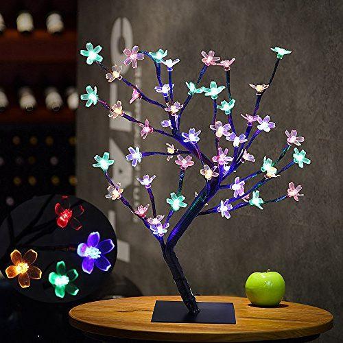 Lámparita para mesita flor de cerezo multicolores
