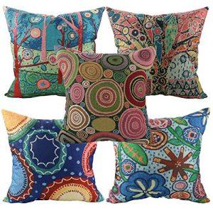 Conjunto de 5 cojines con formas, círculos y flores