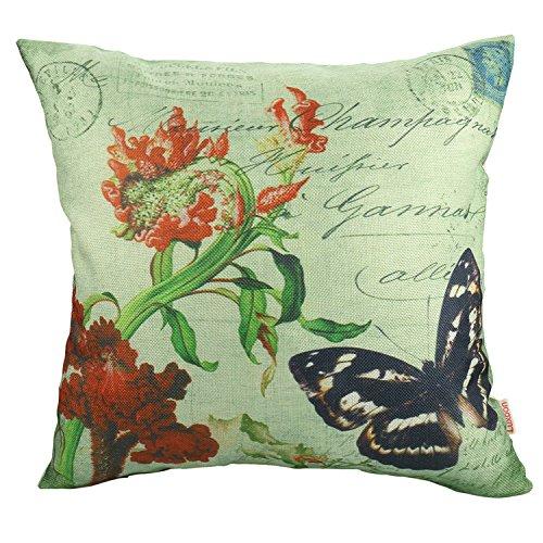 Funda de cojín Luxbon Mariposa y flores