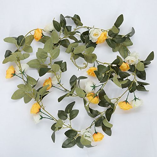 Guirnalda Rosas de seda y tallos para jardín