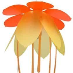 Lámpara flores naranja para habitación infantil