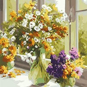 Jarrones con flores al óleo