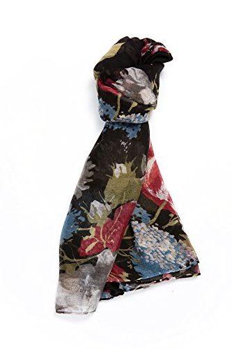 Gran pañuelo patrón de flores, negro, gris, rojo