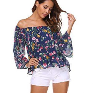 Blusa de volantes con manga larga y hombros al descubierto y bonitas flores