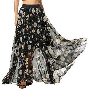 Falda larga Meaneor, Cintura Elástica, Multicolores, Talle Grande S-XXL