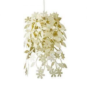 Preciosa lámpara de techo con flores y hojas de plantas
