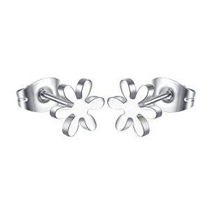 Pendientes flor acero de titanio