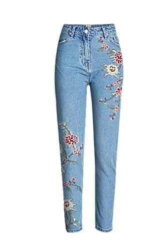 Pantalones vaqueros con rosas bordadas